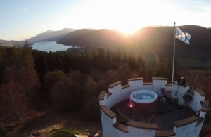 Scottish Hot tub castle tower with stunning views